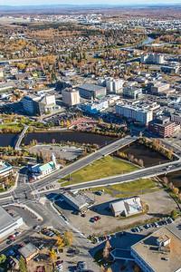 An aerial view of downtown Fairbanks.  Filename: AKA-14-4312-069.jpg