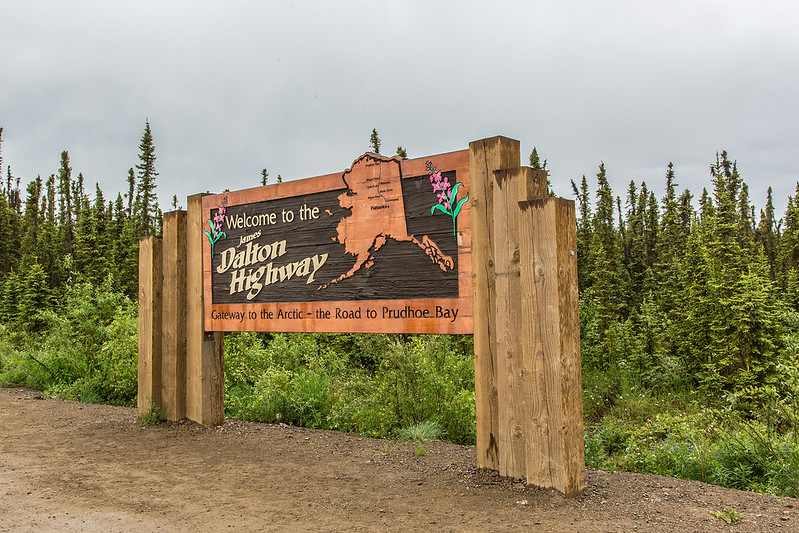 "A road sign marks the beginning of the Dalton Highway, about 75 miles north of Fairbanks.  <div class=""ss-paypal-button"">Filename: AKA-14-4213-001.jpg</div><div class=""ss-paypal-button-end""></div>"