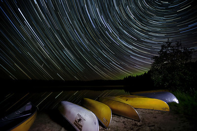 Star Trails with Faint Aurora, over Pog Lake, Algonquin