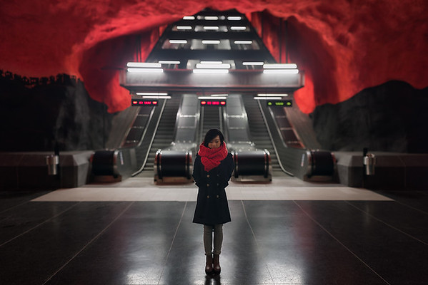 Photograph: A Cold Day In Hell - Jen from Stitch and Story wears one of their handmade scarves as she stands in Solna Centrum station in Stockholm, Sweden.