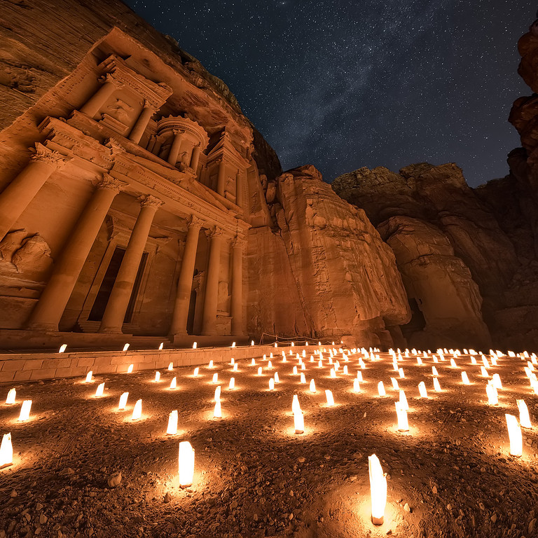 Photograph: Time and Space - The Milky Way above the ancient city of Petra in Jordan.