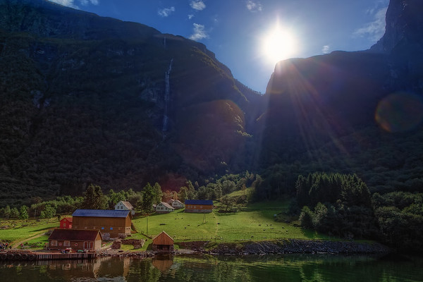 Photograph: Village In The Fjord - Little village in the Sognefjord near Bergen.