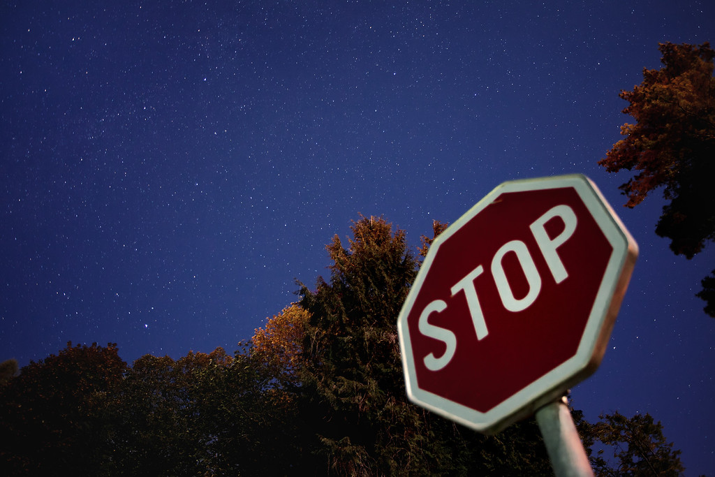 Photograph: Stop - Roadside view of a starry sky above Lake Bled in Slovenia.