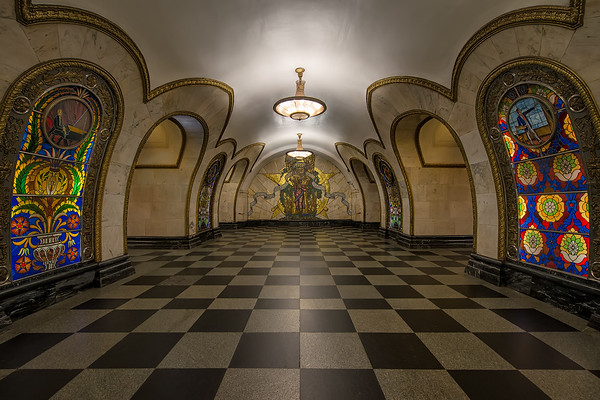 Photograph: Novoslobodskaya - Novoslobodskaya Metro station on the Koltsevaya Line in Moscow Russia.