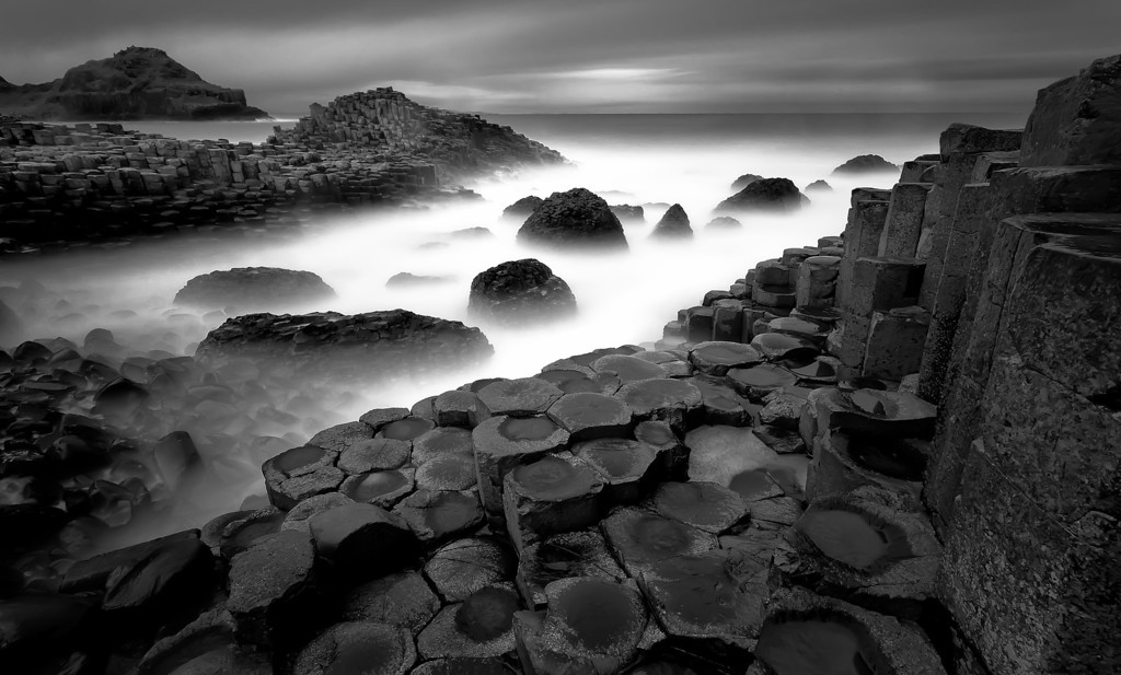 Photograph: Standing on The Shoulders of Giants - Long exposure sunrise monochrome photograph of the Giant's Causeway in Northern Ireland.