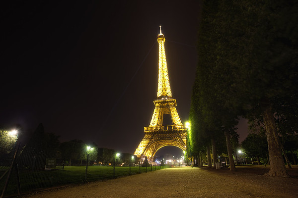 Photograph: The Golden Lady - The golden light of the Eiffel Tower at night.