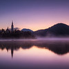 Dawn breaks over Bled Island in Slovenia.
