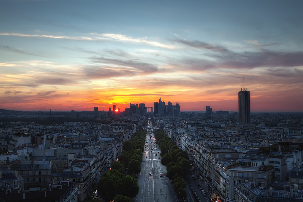 Photograph: La Défense - Sunset over La Défense in Paris, France, taken from atop the Arc de Triomphe.