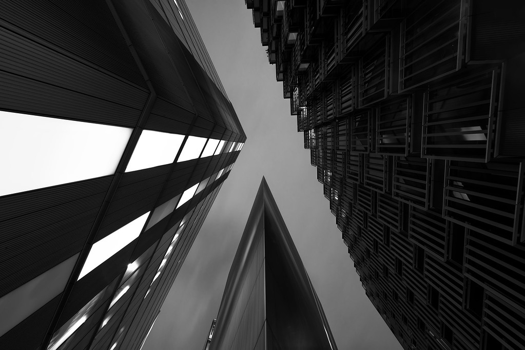 Photograph: Alpha - Monochrome abstract shot of More London, England.