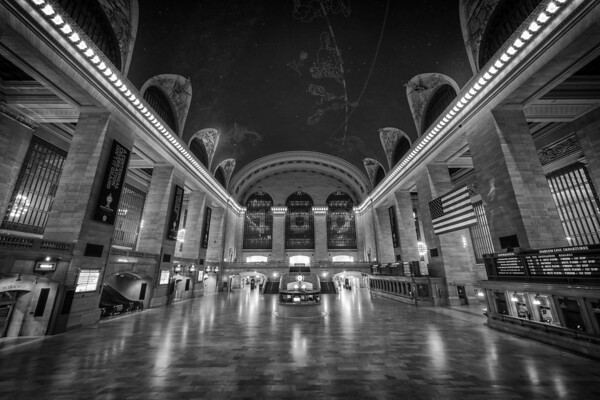 Photograph: Grand Central - Monochrome photo of Grand Central Station in Manhattan, New York.