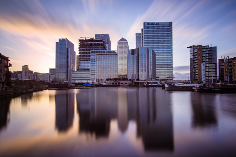 Financial Skies<br /> Long Exposure sunset over Canary Wharf as seen from Poplar Dock