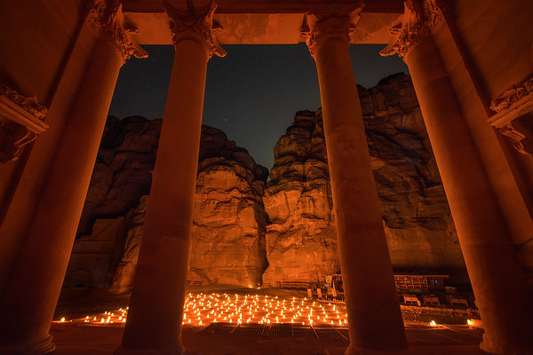 Photograph: Inside The Treasury - Stars over Petra By Night, as seen from inside The Treasury.