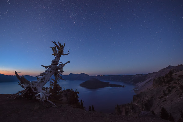 Photograph: Twilight - Twilight over Crater Lake in Oregon.