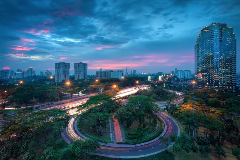 Jakarta Traffic<br /> Traffic trails in Jakarta, captial of Indonesia