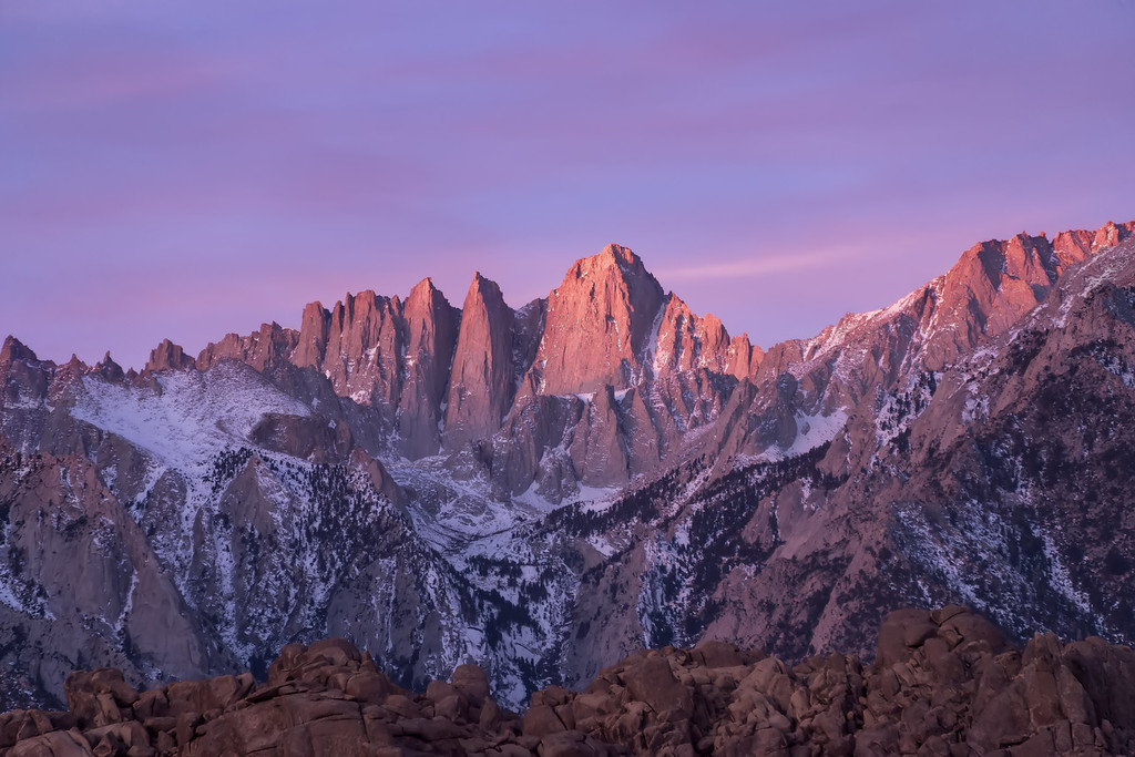 Photograph: Mount Whitney - Mount Whitney, the highest peak in the contiguous USA, and the rest of the Sierra Nevada catch the rising sun at Alabama Hills.