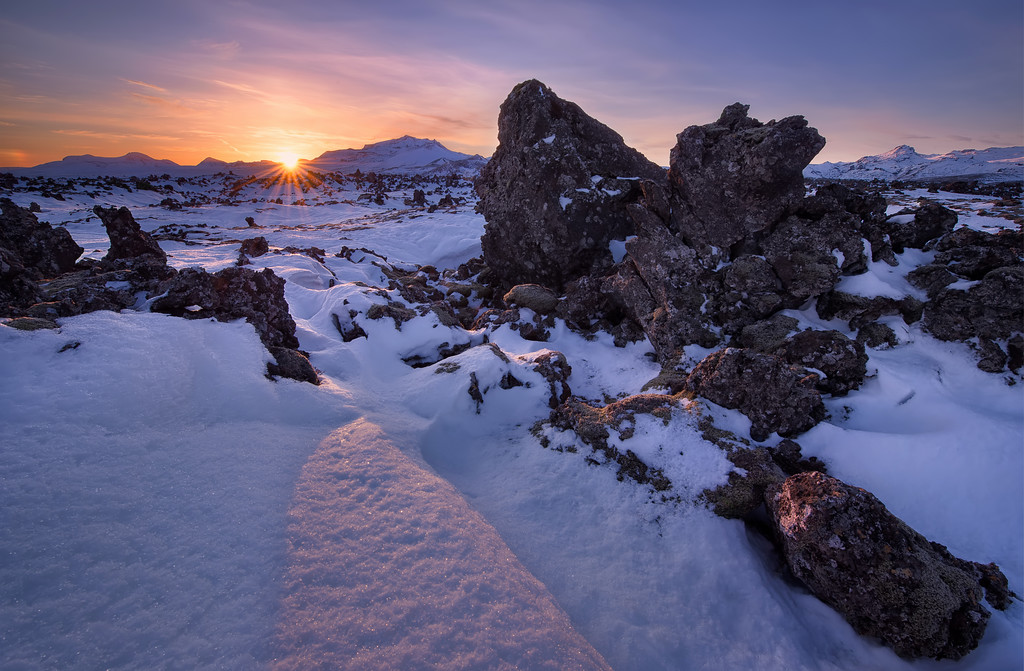 Photograph: The Land That Time Forgot - Sunrise over a lava field on the Snæfellsnes Peninsula in West Iceland.