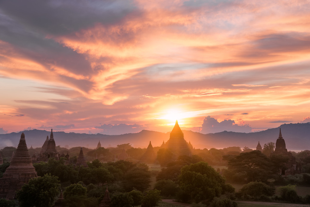 Photograph: Bagan Sunset - Sunset behind Mingalazedi Pagoda, one of the many temples in Bagan, Myanmar.