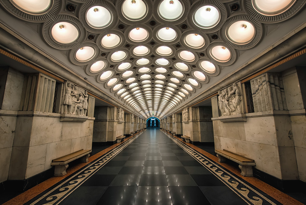 Photograph: Elektrozavodskaya - Elektrozavodskaya station on the Moscow Metro. This art-deco station was built in 1944 and is on the Arbatsko-Pokrovskaya Line.