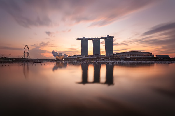 Photograph: Singapore Sunrise - Long exposure, manually blended shot of sunrise over Marina Bay in Singapore.