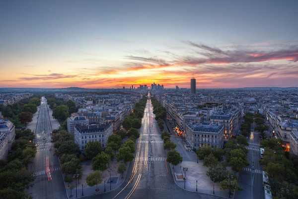 Photograph: Deux et demi - Fantastic fiery sunset over La Défense in Paris, France, as seen from the Arc de Triomphe.