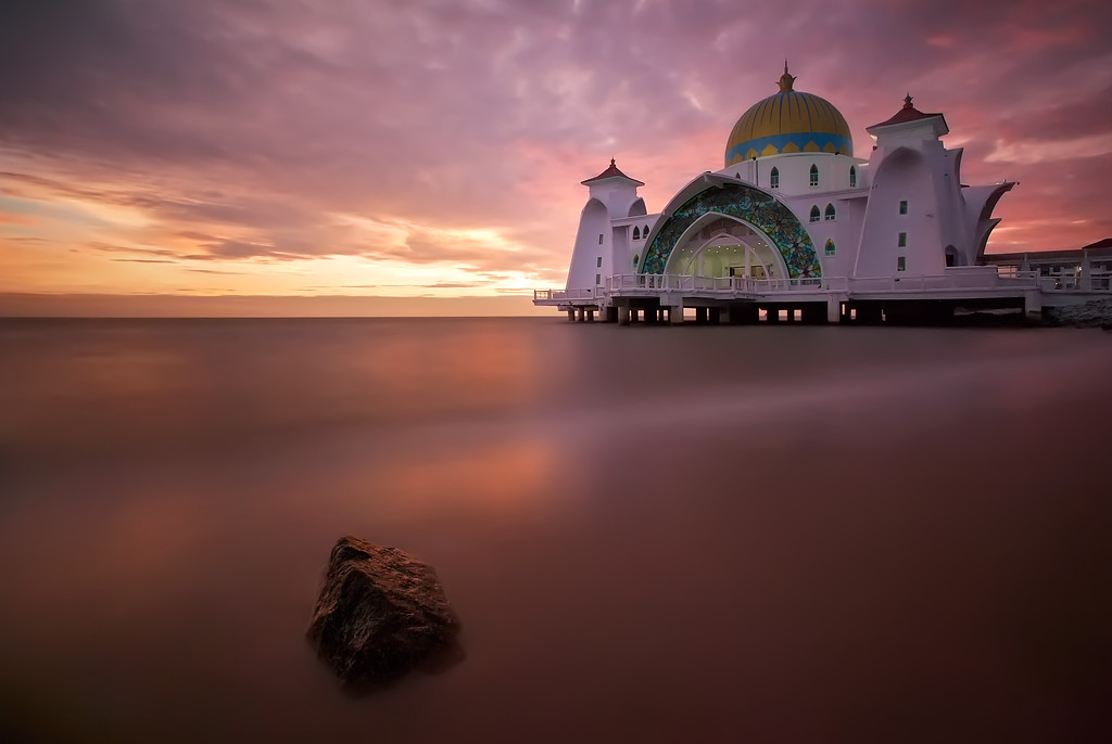 Photograph: Malacca Straits Mosque - Long exposure sunset photo of the Malacca Straits Mosque in Malaysia.