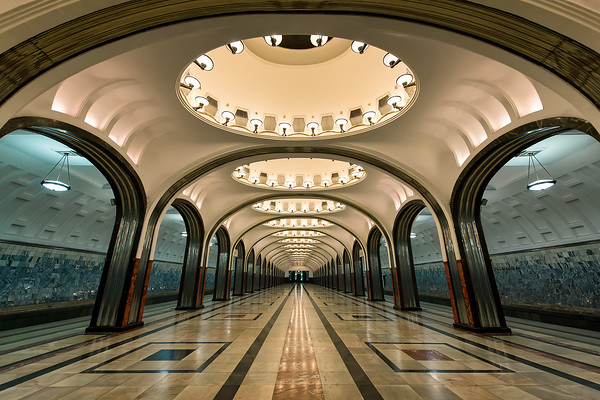 Photograph: Mayakovskaya - Mayakovskaya, an art-deco / futurism station on the Zamoskvoretskaya Line of the Moscow Metro.