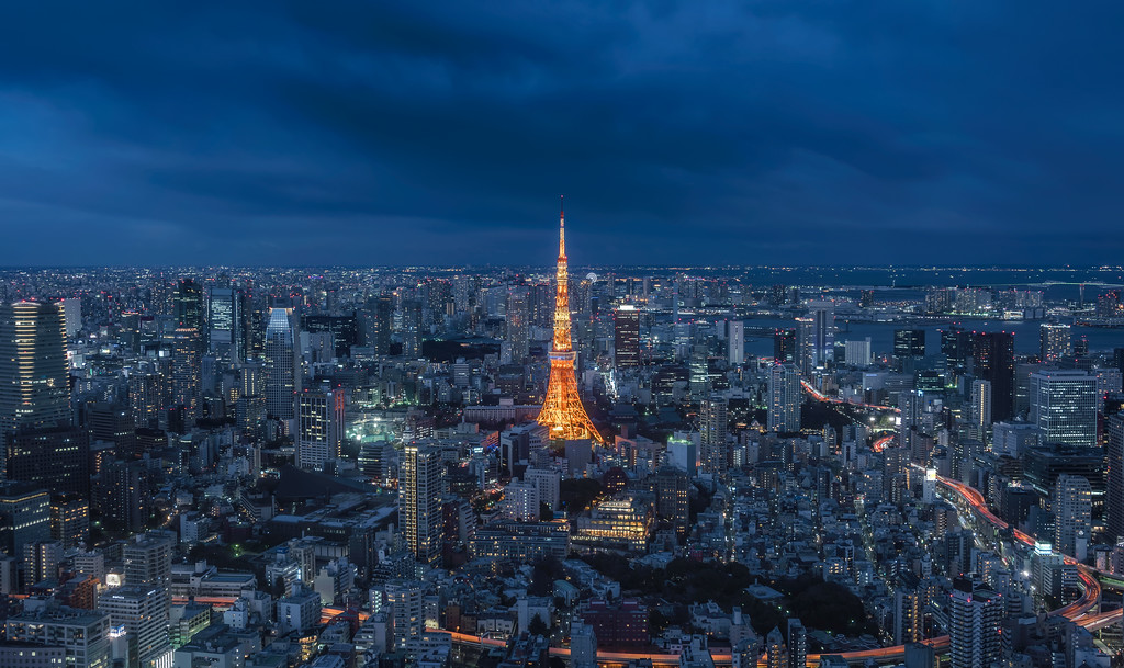 Photograph: Tokyo Tower - Tokyo Tower at blue hour. Shot from the Sky Deck at Roppongi Hills, Japan.
