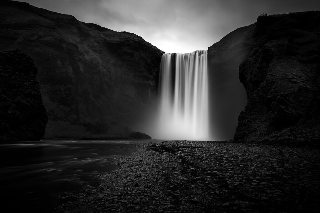 Photograph: Skógafoss - Monochrome capture of Skogafoss, one of the most famous waterfalls in Iceland.
