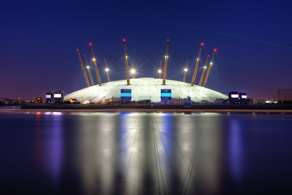 Photograph: The Dome - The O2 Arena in North Greenwich with the GMT laser overhead.
