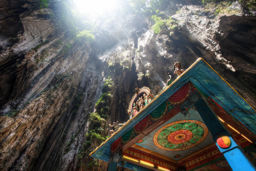 Photograph: Light From Above - The Lord Murugan Temple inside the Batu Caves in Kuala Lumpur, Malaysia.