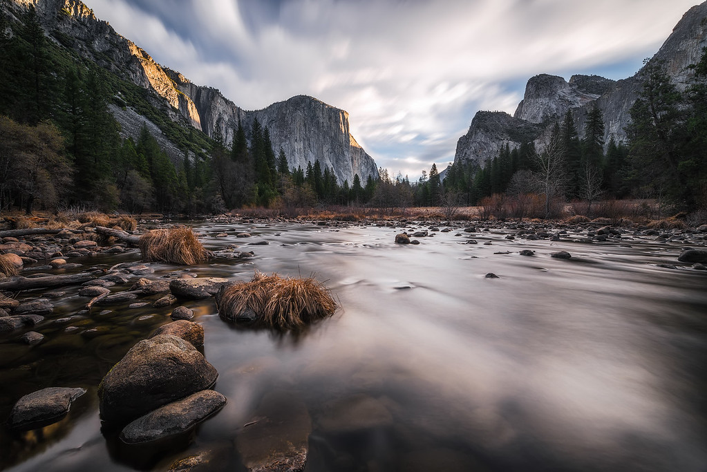 Photograph: Valley View - El Capitan catching the morning light beyond the Merced River in Yosemite National Park.