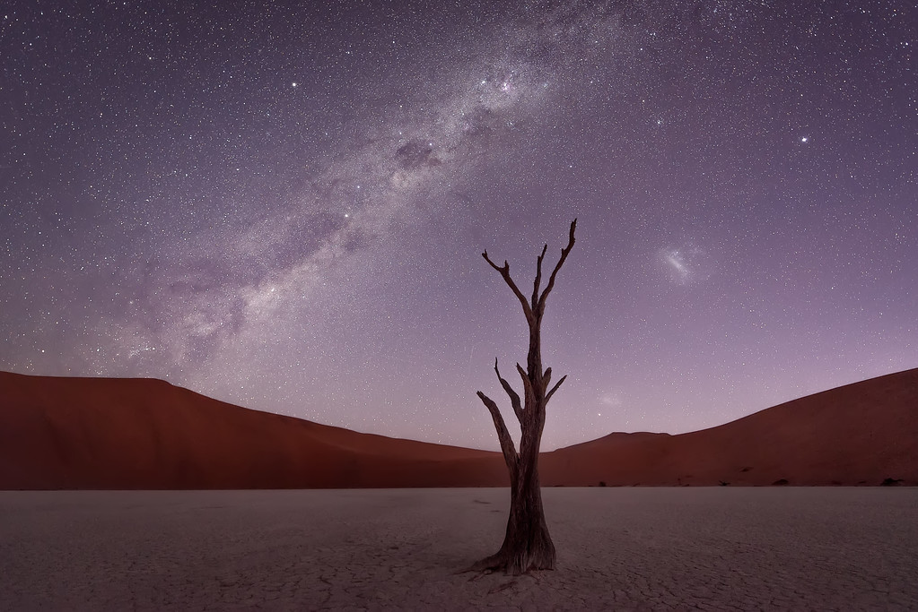 Photograph: Deadvlei Twilight - Twilight and the Milky Way at Deadvlei in Namibia.