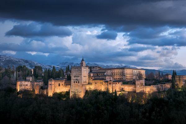 Photograph: Alhambra - Blue hour at the Alhambra palace and fortress in Granada, Andalusia, Spain.