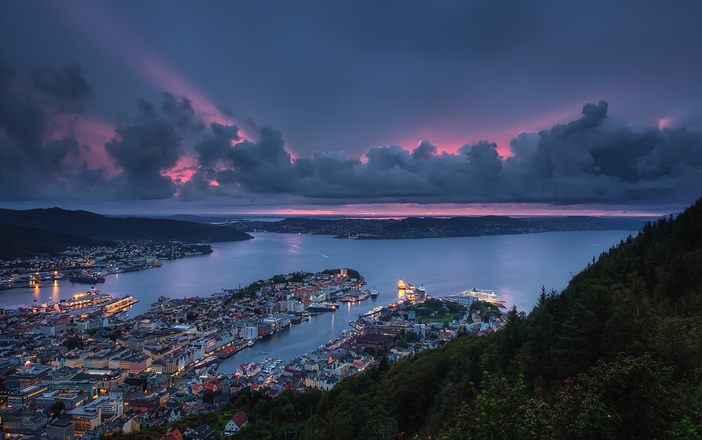 Photograph: Bergen Harbour - Amazing sunset over the city of Bergen.