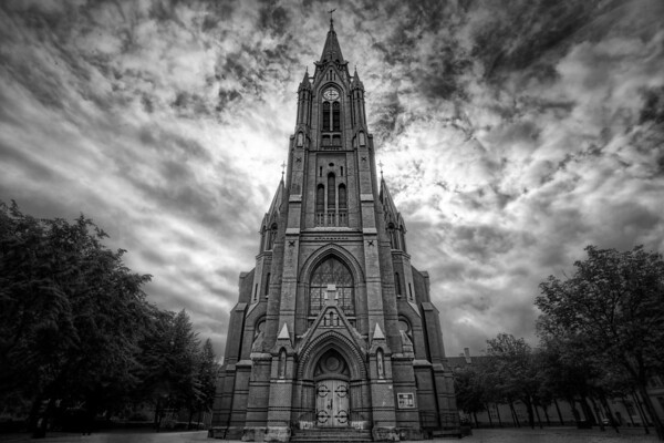 Photograph: Bergen Church - Black and white photo of a stormy sky over Johanneskirken in Bergen.