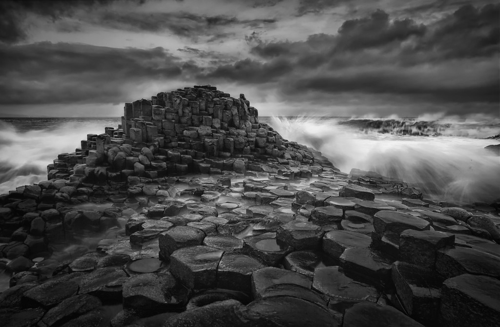 Photograph: Storm on the Causeway Coast - Waves crash onto the Giant's Causeway on the North Antrim coast, Northern Ireland.