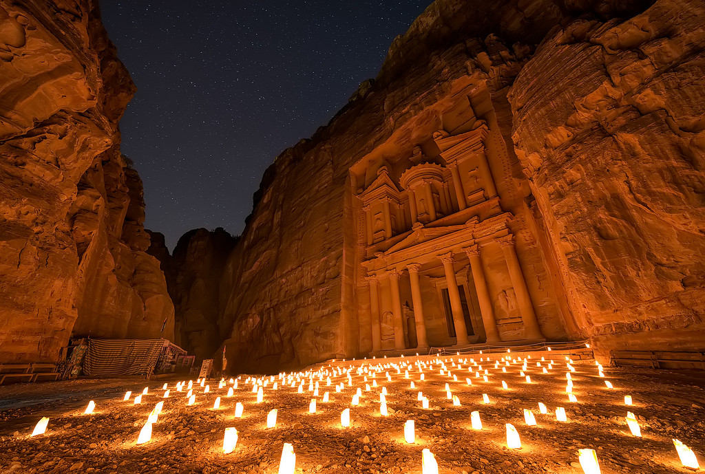 Photograph: Petra By Night - Stars above Petra By Night in Jordan.