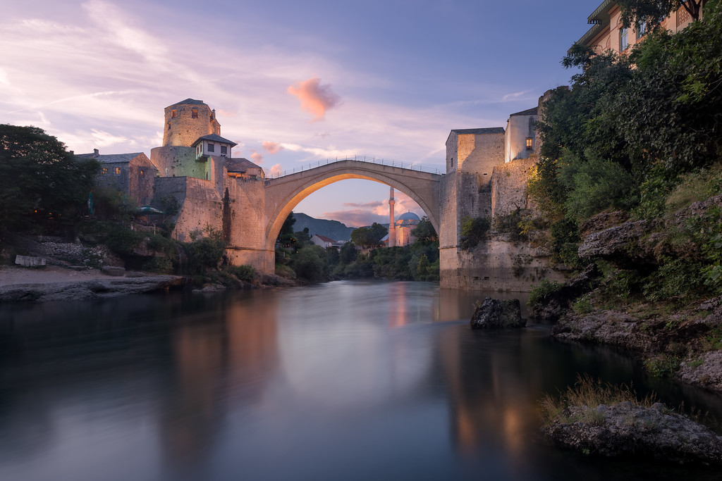 Photograph: Mostar - Sunset at Stari Most (Old Bridge) in Mostar, Bosnia-Herzegovina.