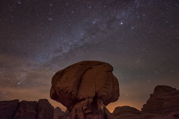 Photograph: Mushroom Rock - The Milky Way above a mushroom rock formation in the Wadi Rum desert in Jordan.