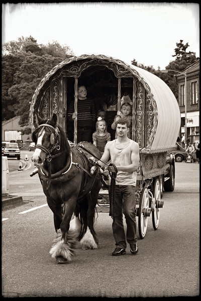 """Driving through Appleby"" Appleby Horse Fair, England"