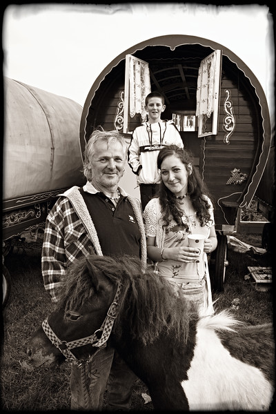 """Gypsy Jim and Son with One Little Hippie""  Appleby Horse Fair, England"