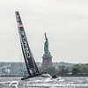Lindsey Vonn onboard ORACLE Team USA during the final training session of Louis Vuitton America's Cup World Series New York