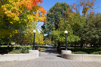 OTTAWA, CANADA -  12TH OCTOBER 2014: An entrance to the Confederation Park in downtown Ottawa during the day. People can be seen in the park
