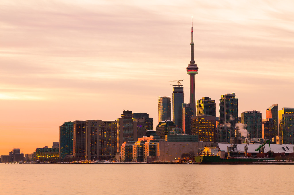 Part of the Toronto Skyline from the East at sunset