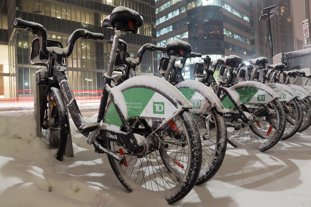 Bike Share Bikes Covered in Snow in Toronto