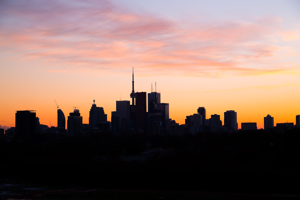 Downtown Toronto at Dusk with a pink sky