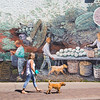 Lady walking Dog outside Wall Art