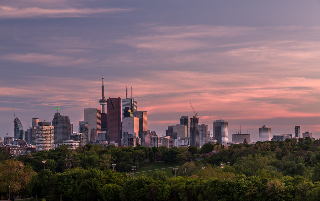 Downtown Toronto and a Colorful Sunset