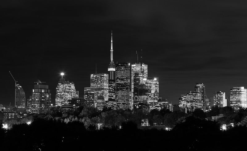 Toronto Night Skyline in Black and White