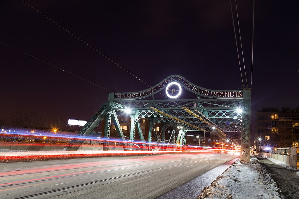Bridge and traffic in Toronto at Night